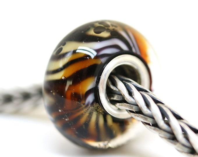 Tiger stripes print jewelry Brown topaz European bracelet charm, Lampwork glass big hole bead, European style bracelet