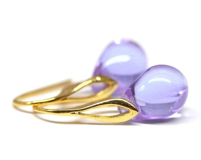 Lilac earrings on gold hooks, Lavender drop dangle earrings, Golden ear wires, Light purple Glass briolette earrings by MayaHoney