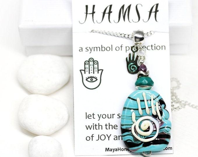 Healing hand pendant, Yoga jewelry, Protection Hand of Fatima, Artisan Lampwork pendant on Sterling silver, Hamsa symbol One of a kind OOAK
