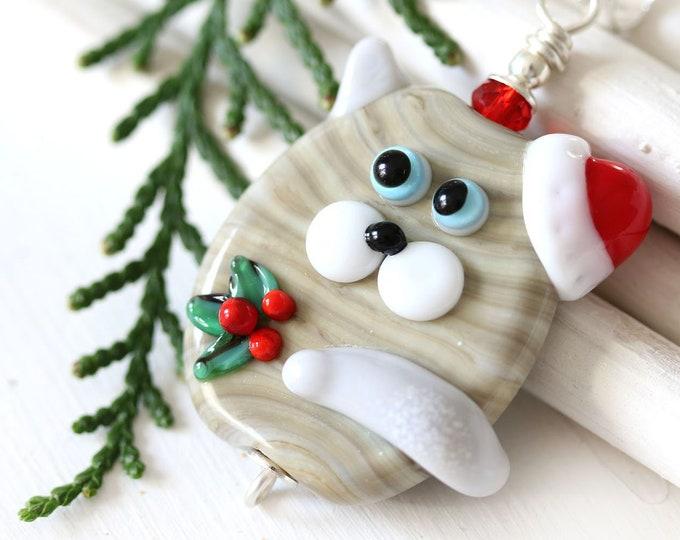Christmas cat necklace, Santa cat jewelry, Kitten pendant, Handmade lampwork, Animal lover Christmas gift, Sterling silver, Cute animal