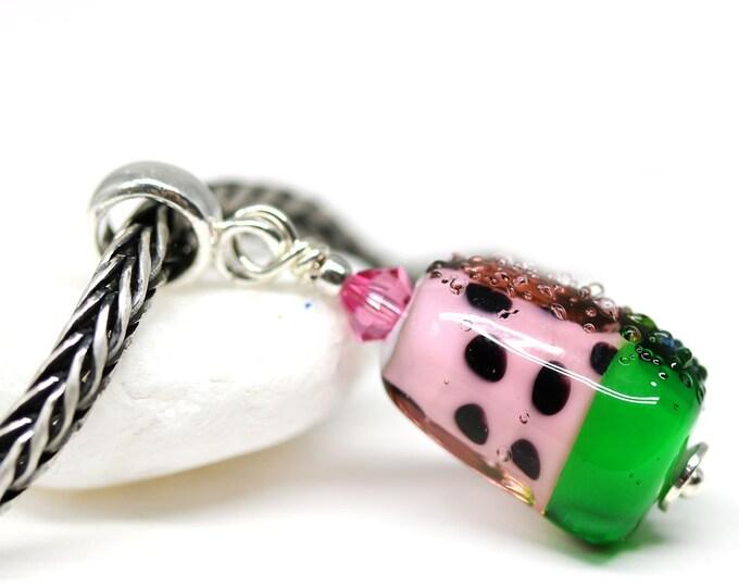 1pc Watermelon fruit jewelry charm, European bracelet dangle bead, Watermelon slice, European style Lampwork bead, Fruit food jewelry