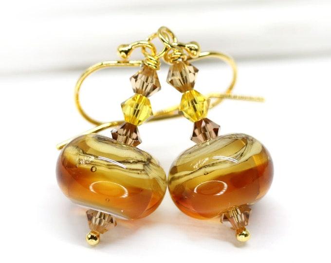 Amber topaz beaded earrings, Autumn colors jewelry, Yellow brown Handmade lampwork glass earrings