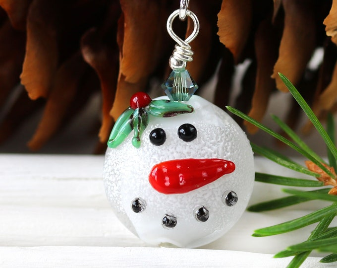 Christmas snowman pendant on cord, Festive holiday jewelry, Handmade lampwork glass Christmas jewelry gift