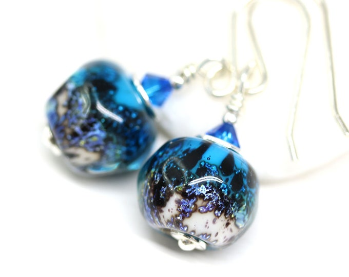 Aqua Blue glass beaded earrings, Sea inspired handmade lampwork jewelry, Blue black earrings