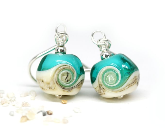 Teal green beaded earrings, Handmade lampwork earrings, Murano glass jewelry, Sterling silver Ocean jewelry