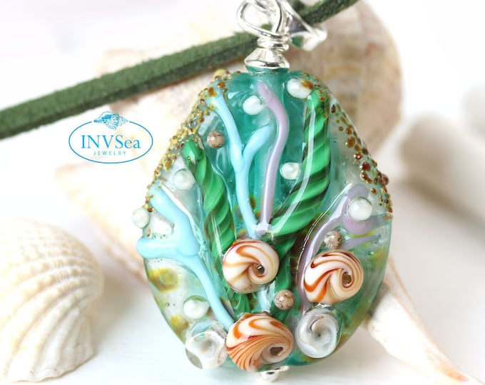 Teal green nautical jewelry, Blue green seashell pendant, One of a kind handmade lampwork glass ocean jewelry