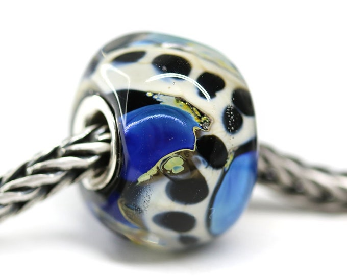 European jewelry pendant bead, Blue Black White large hole handmade lampwork glass bead, Organic round Sterling silver cored charm