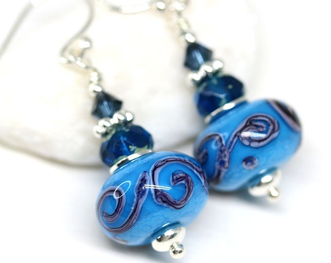 Turquoise blue dangle earrings, Handmade lampwork glass jewelry, Scrolls earrings