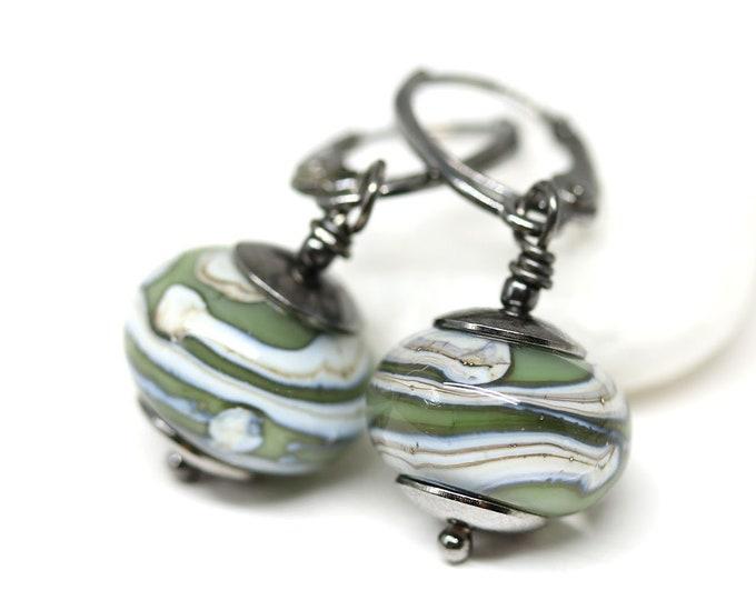 Green gray earrings on rhodium leverback earwires, Casual women jewelry, Handmade lampwork glass dangle earrings