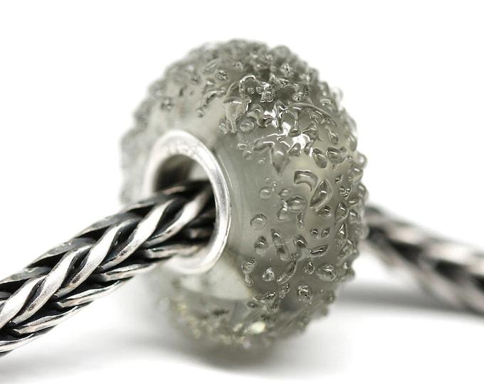 Dark gray European bracelet charm, Handmade lampwork glass Large hole bead
