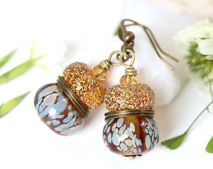 Amber topaz lampwork glass beaded earrings, Dark yellow brown Handmade dangle earrings, Lampwork jewelry