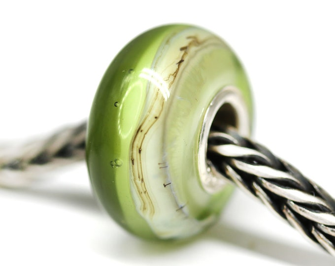 Handmade lampwork Olive green large hole bead, Olivine european style bracelet charm, Artisan glass beads