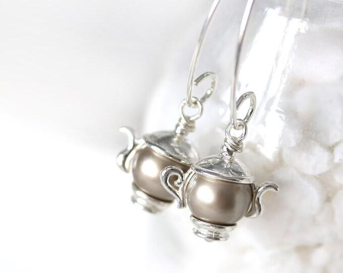 Sterling silver long tearpot earrings, Tea lover gift, Teapot jewelry, Swarovski pearls earrings, Tea party gift