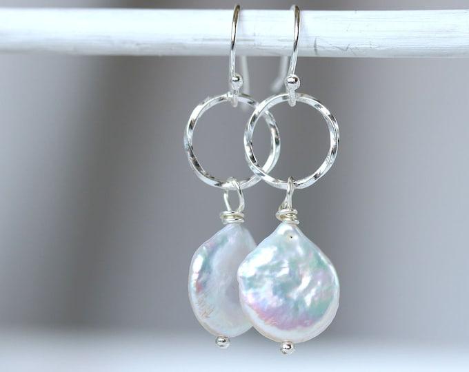 White pearl earrings, Sterling silver long dangle hoop earrings with oval flat pearls