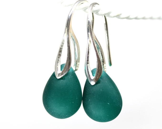 Dark teal green earrings, Sterling silver dangle drop earrings, Ocean jewelry teardrop earrings by MayaHoney