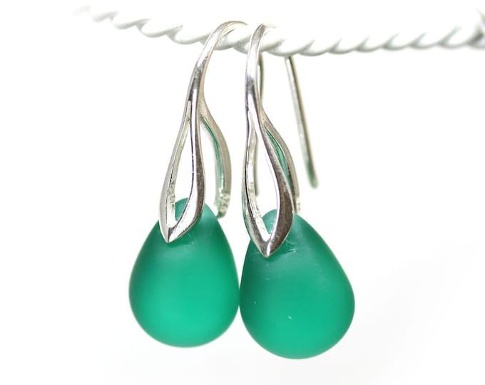 Light frosted teal drop earrings, Seaglass looking czech glass teardrop briolette dangle earrings