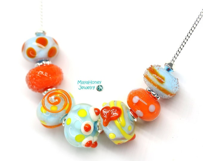 Blue orange beaded whimsical necklace, Handmade lampwork glass jewelry, Sterling silver chain necklace, Blue orange jewelry by MayaHoney