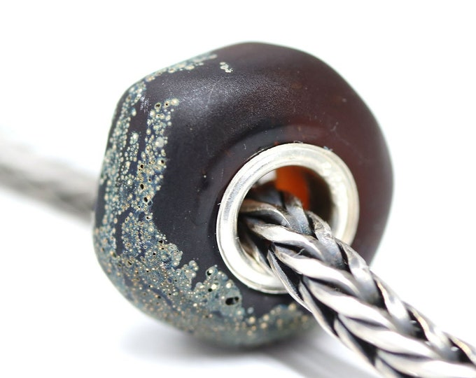 Dark topaz European style bead, Artisan Lampwork big hole bead, Organic chunky dark brown European bracelet charms