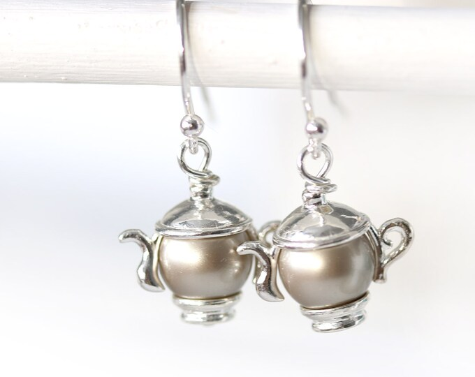 Tearpot earrings, Sterling silver Tea party earrings, Teapot jewelry, Swarovski pearl earrings, Tea lover gift