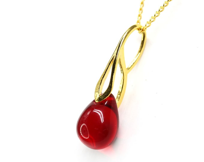 Red glass drop pendant, Red gold dainty teardrop pendant, Golden chain, Red jewelry by MayaHoney
