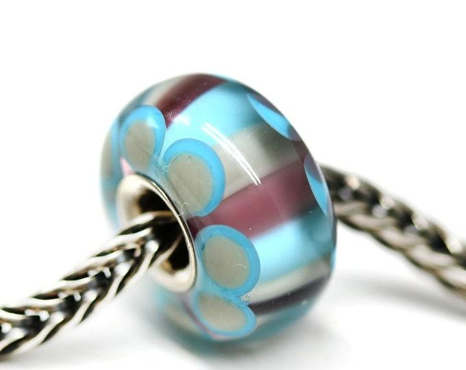 Blue purple silver cored European bracelet bead, European style charm, One of a kind Handmade lampwork glass Large hole bead