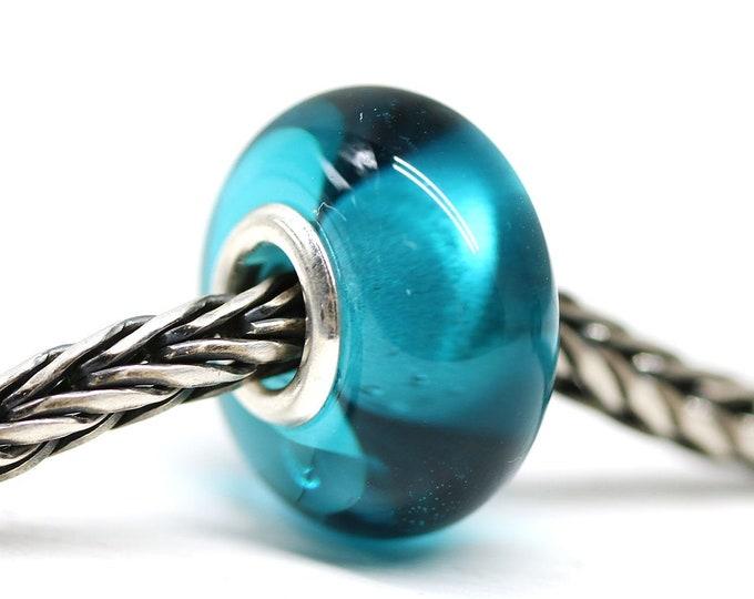 Teal glass bracelet bead, Handmade lampwork large hole bead, European style charm, Ocean jewelry SRA