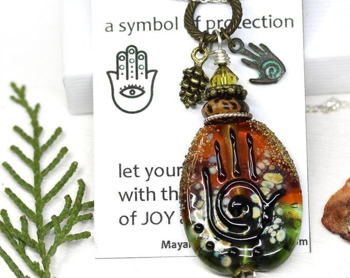 Unique Yoga necklace, Brown Topaz Olive green Healing hand pendant, Hamsa charm, Hand of Fatima pendant, Artisan lampwork glass OOAK jewelry