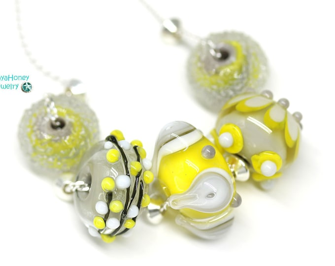 Yellow beaded necklace, Yellow gray necklace, Handmade lampwork glass beaded jewelry, Sterling silver chain necklace