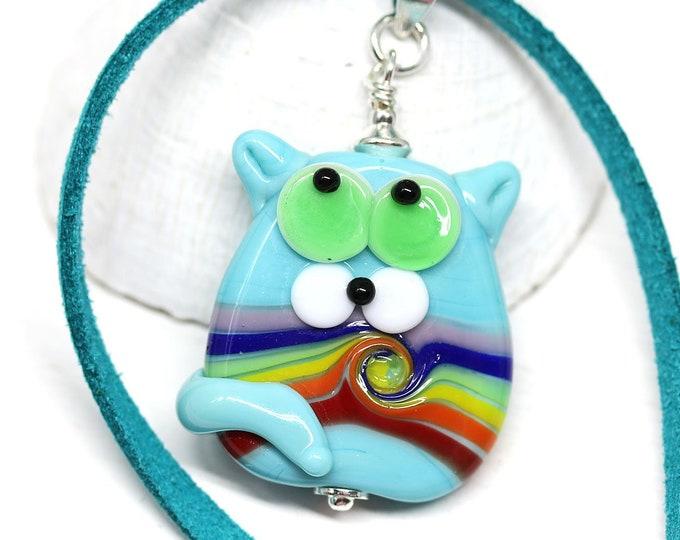 Rainbow cat jewelry pendant, Kitten pendant, Rainbow pride jewelry, Cute animal lover gift, Artisan lampwork glass by MayaHoney