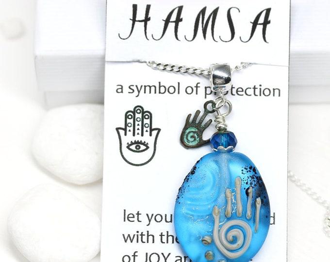 Aqua Blue glass pendant, Yoga necklace Hamsa symbol jewelry, Handmade lampwork glass Healing hand pendant, Hand of Fatima OOAK