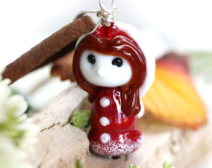 Red hood necklace, Fantasy jewelry, Fairy girl pendant, Handmade lampwork glass by MayaHoney