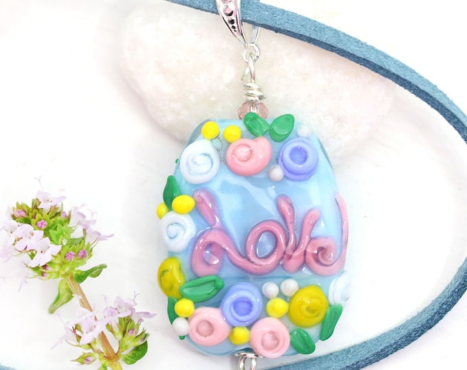 Love pendant, Pink blue flower necklace with word Love, Motivation jewelry, Handmade lampwork glass, Inspiration jewelry by MayaHoney