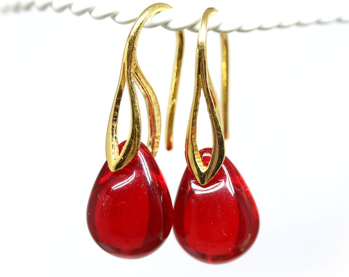 Christmas red drop earrings, Red gold dangle earrings, Golden earwires, Christmas jewelry gift