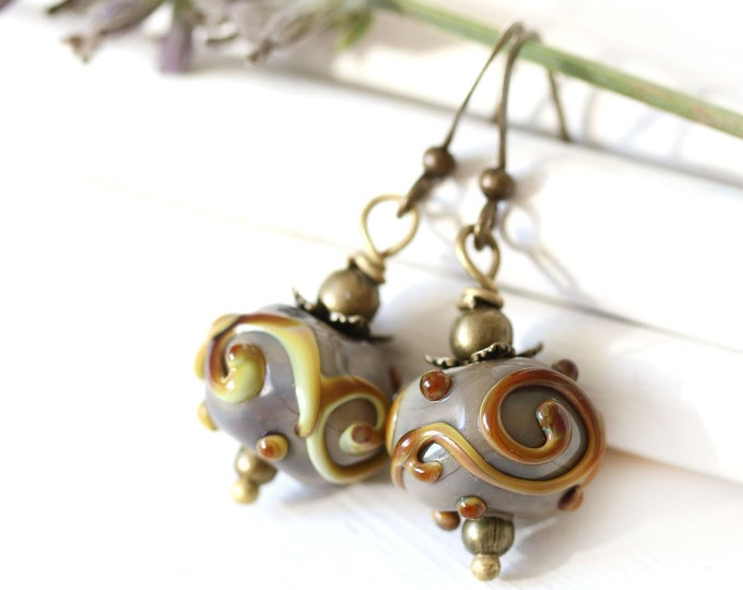 Earthy colored Lampwork glass earrings, Fall wedding jewelry, Gray brown yellow beaded brass earrings, Nature jewelry