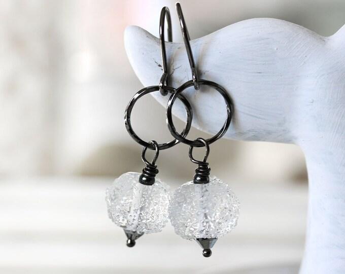 Long dangle earrings on black rhodium earwires, Crystal clear lampwork glass beads, Black jewelry, Hoop earrings, Women jewelry