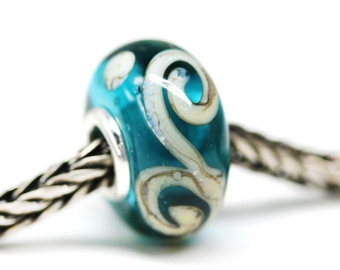 Scrolls on teal glass bracelet bead, Handmade lampwork large hole bead, European style charm, Ocean jewelry SRA