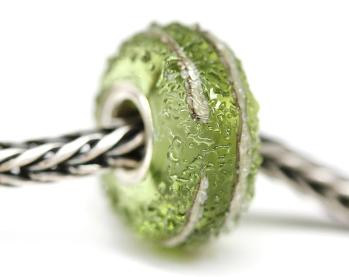 Olivine bracelet bead, Handmade lampwork Olive green large hole bead, European style bracelet charm