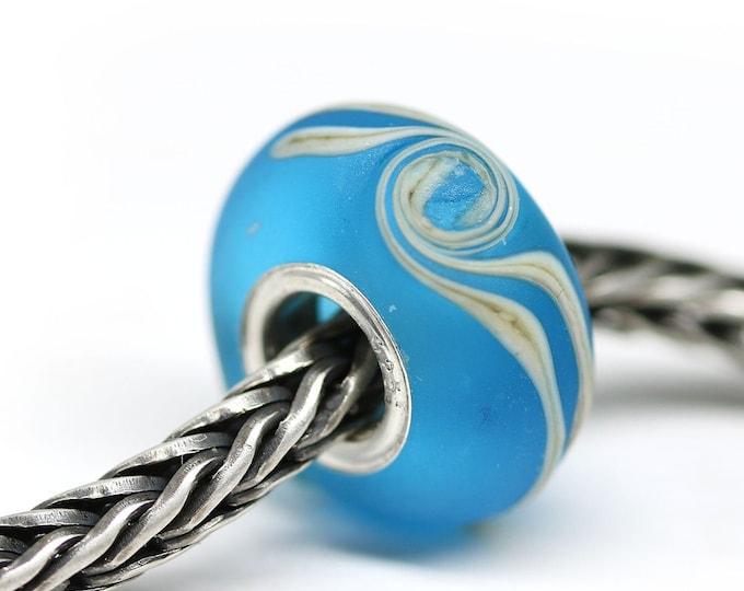 Aqua blue European bracelet bead, Frosted blue glass European charm, Handmade lampwork big hole bead