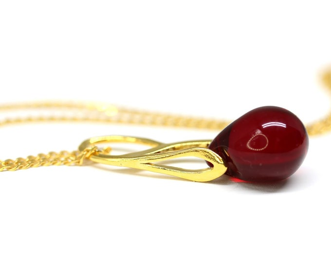 Dark red glass drop pendant, Red gold dainty teardrop pendant, Golden chain, Dark red jewelry by MayaHoney