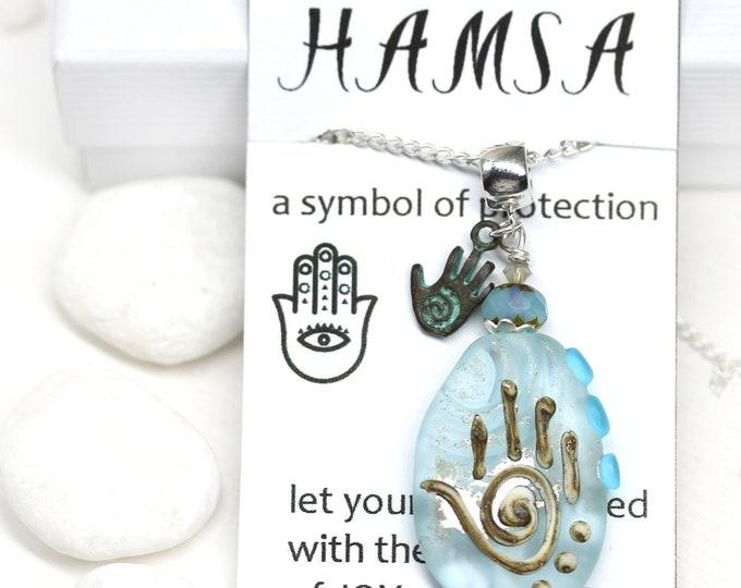 Light Blue glass pendant, Yoga necklace Hamsa symbol jewelry, Seaglass Handmade lampwork glass Healing hand pendant, Hand of Fatima OOAK