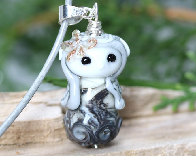 Elf girl necklace, Fantasy jewelry, Gray fairy pendant, Elven necklace, Handmade lampwork glass by MayaHoney