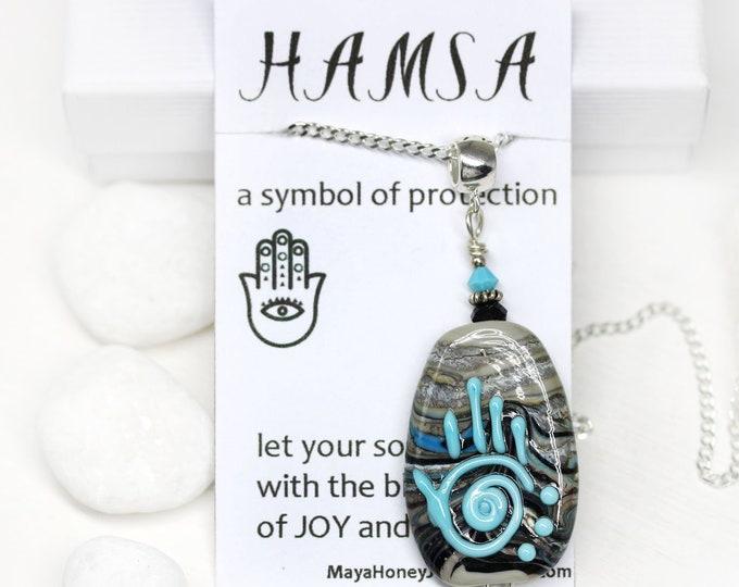 Yoga necklace Hamsa symbol jewelry, Gray Blue lampwork glass Healing hand pendant, Hand of Fatima, One of a kind unique yoga jewelry