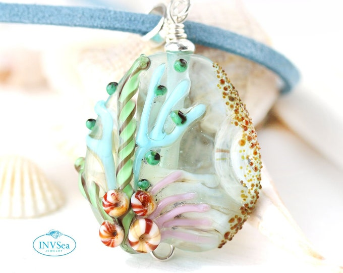 Light blue sea inspired pendant, Coral reef, Marine life jewelry, One of a kind handmade lampwork glass bead necklace