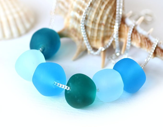 Blue green beach necklace on sterling silver chain, Sea inspired handmade lampwork jewelry