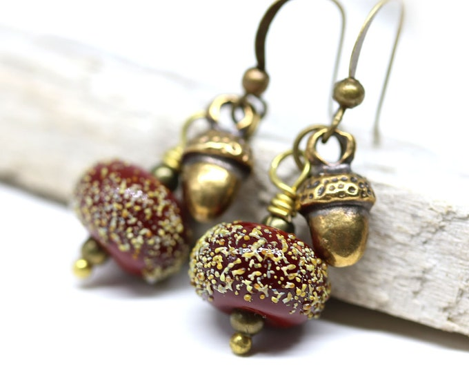 Acorn earrings, Red dangle brass earrings with acorn charms, Handmade Lampwork beaded jewelry