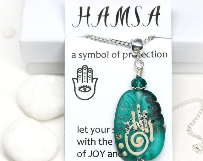 Frosted Teal green glass pendant with Hamsa symbol, Yoga jewelry, Healing hand necklace, Handmade lampwork OOAK pendant Protection jewelry