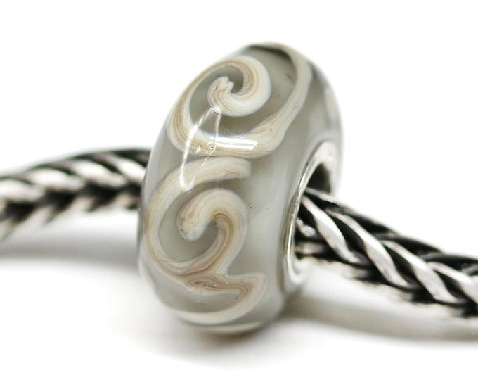 Gray European style bracelet charm, Big hole handmade lampwork glass bead