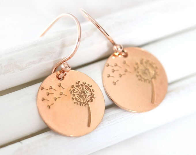 Rose gold dandelion earrings, Dandelion flower rose gold jewelry, Floral women dainty earrings