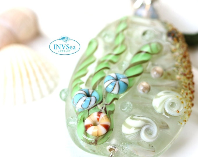 Seaside coastal jewelry, Blue green seashell pendant, One of a kind handmade lampwork glass beach jewelry