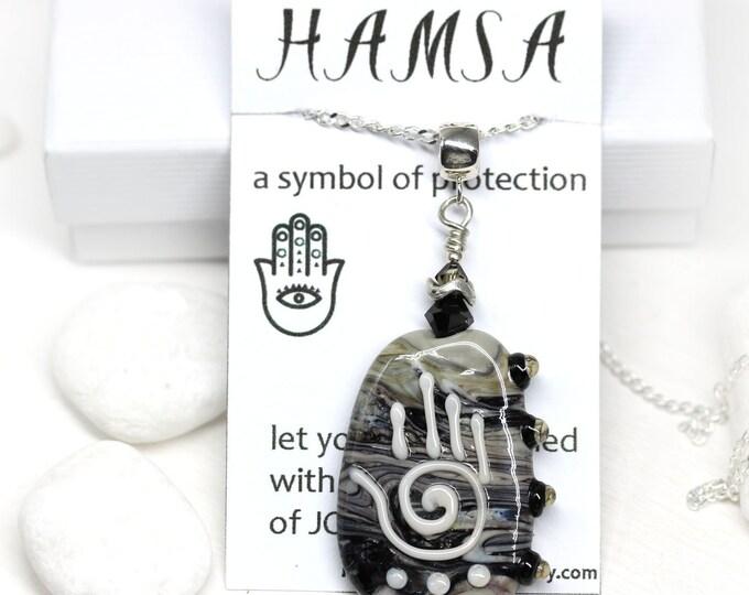 Black Gray Hamsa pendant, Yoga jewelry, Healing hand pendant, Hand of Fatima, Handmade lampwork glass jewelry One of a kind
